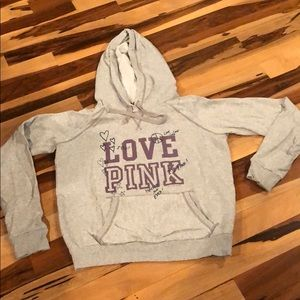 Victoria secret pink , grey sweatshirt sz large